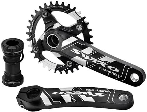 Juego de manivelas para bicicleta de montaña de 170 mm con platos 104 BCD 32/34/36/38T, MTB, platos de aleación de aluminio, color negro, 104BCD 32T