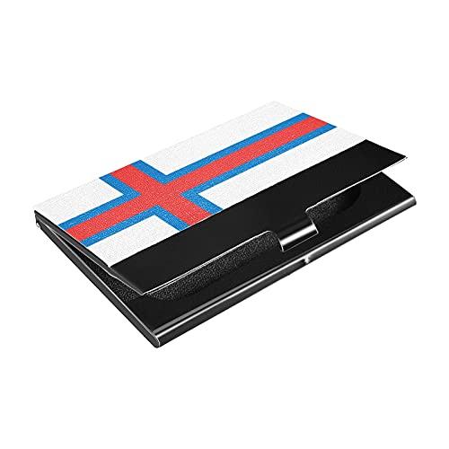 Soporte para tarjetas de visita de acero inoxidable de la bandera de las Islas Feroe, titular de la tarjeta de crédito de cuero sintético, para hombres y mujeres (p