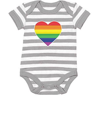 LGBT Baby Outfit Love Pride Gay & Lesbian Rainbow Heart Flag Baby Bodysuit 6M (3-6M) Gray/White