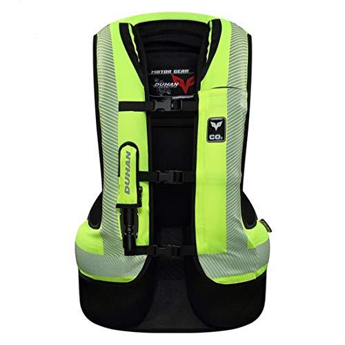LLC-CLAYMORE Chaleco Airbag de Motocicleta, Chaqueta de airbag Peso Ligero Chaleco Reflectante, Unisex-Adulto,Green,M