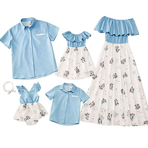 PopReal Family Matching Outfits Mommy and Me Dresses Floral Printed Men Boy Shirt Girl Romper