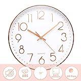 Jeteven® 30cm Rund Wanduhr Kinderuhr mit geräuscharmem Uhrwerk mit schleichender