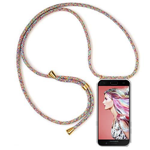 ZhinkArts Handykette kompatibel mit Samsung Galaxy A5 2017 (A520) - Smartphone Necklace Hülle mit Band - Schnur mit Case zum umhängen in Rainbow