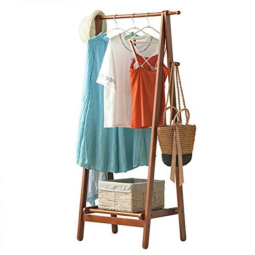 Faltbarer Garderobenständer aus Holz mit 2 seitlichen Haken, Schuhregal/großer Stauraum/Gelb / 149×45×74cm