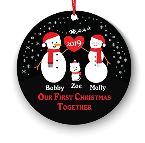 Our First Christmas Together Christmas Ornament Personalized with Cat Pet- New Couple Lover 2018-1st 2nd Married Christmas Ornament First - Newlywed