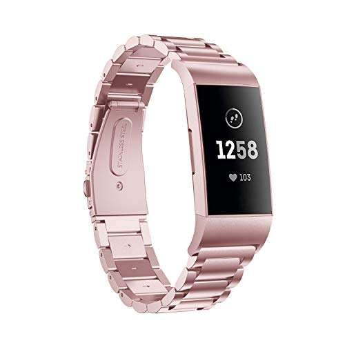 Aresh Compatible with Fitbit Charge 3 Bands,Stainless Steel Replacement Band Strap for Fitbit Charge 4/4SE & Charge 3/3 SE Fitness Activity Tracker (Rosepink)