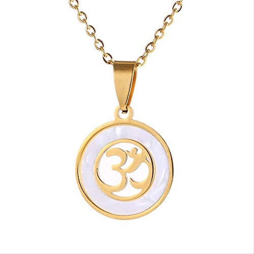 Naswi Stainless Steel Hindoo Hindu Buddhist Aum Om Pendant Necklace Gold Colors Lucky Peace Symbol Hinduism Jewelry