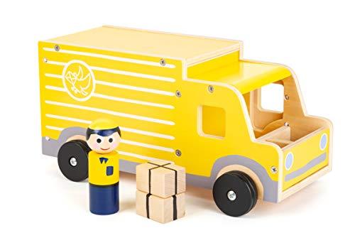 small foot 11458 Großer Postwagen aus Holz, mit Spielfiguren und viel Stauraum für Pakete u. ä., für Kinder ab 3 Jahren