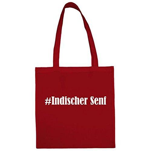 Tasche #Indischer Senf Größe 38x42 Farbe Rot Druck Weiss