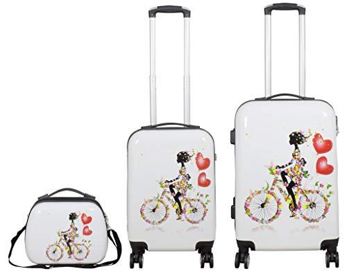 Koffer Hartschalenkoffer Reiseset 3TLG Martinique Weiß mit Fahrrad und Frau