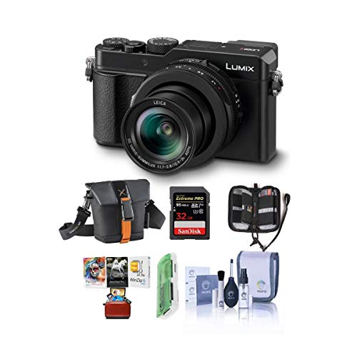 Panasonic Lumix DC-LX100 II Digital Point and Shoot Camera with 24-75mm Leica DC Lens, Black - Bundle with Camera Case, 32GB SDHC U3 Card, Cleaning Kit, Memory Wallet, Card Reader, Mac Software Pack