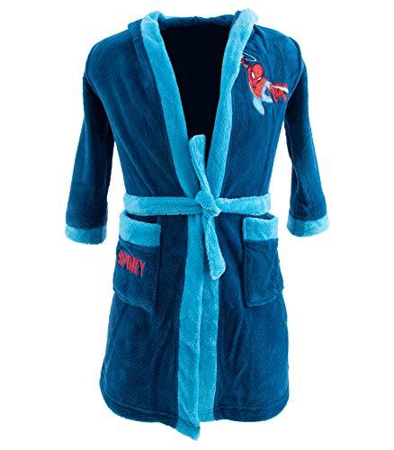 Marvel Ultimate Spiderman - Albornoz con capucha para niño azul oscuro 104/110 cm