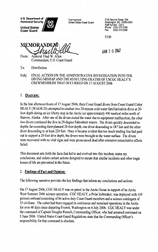 Final Action on the Administrative Investigation into the Diving Mishap and the Resulting Deaths of USCSC Healy's Crewmembers that occurred on 17 August 2006 (English Edition)