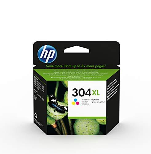 HP 304XL N9K07AE - Cartucho de Tinta Original de alto rendimiento, tricolor, compatible con impresoras de inyección de tinta HP DeskJet 2620, 2630, 3720, 3730, 3750, 3760, HP Envy 5010, 5020, 5030