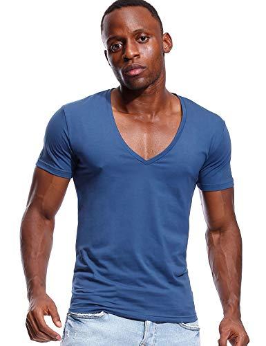 Deep V Neck T Shirt for Men Low Cut Vneck Tee Invisible Tshirt Vee Top Blue S