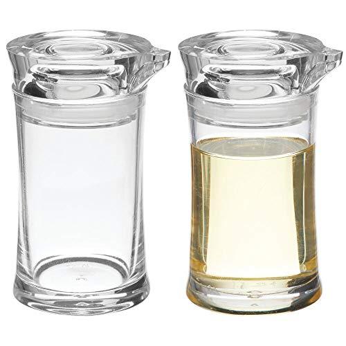 mDesign Set da 2 dispenser piccoli con beccuccio – Barattoli in plastica per aceto, olio, condimento per l'insalata – Bottigliette con tappo dosatore per cucina e tavolo da pranzo – trasparente