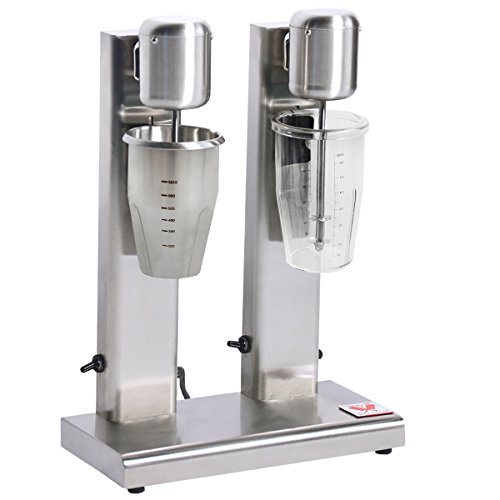 Beeketal 'BMS-2' Profi Milchshaker Doppel Mixer mit 2 x 750 ml XL Bechern, 2 Stufen (10.000 oder 15.000 U/Min), Gastro Standmixer ideal für cremige Milkshakes, Eiweißshakes, Cocktails oder Smoothies