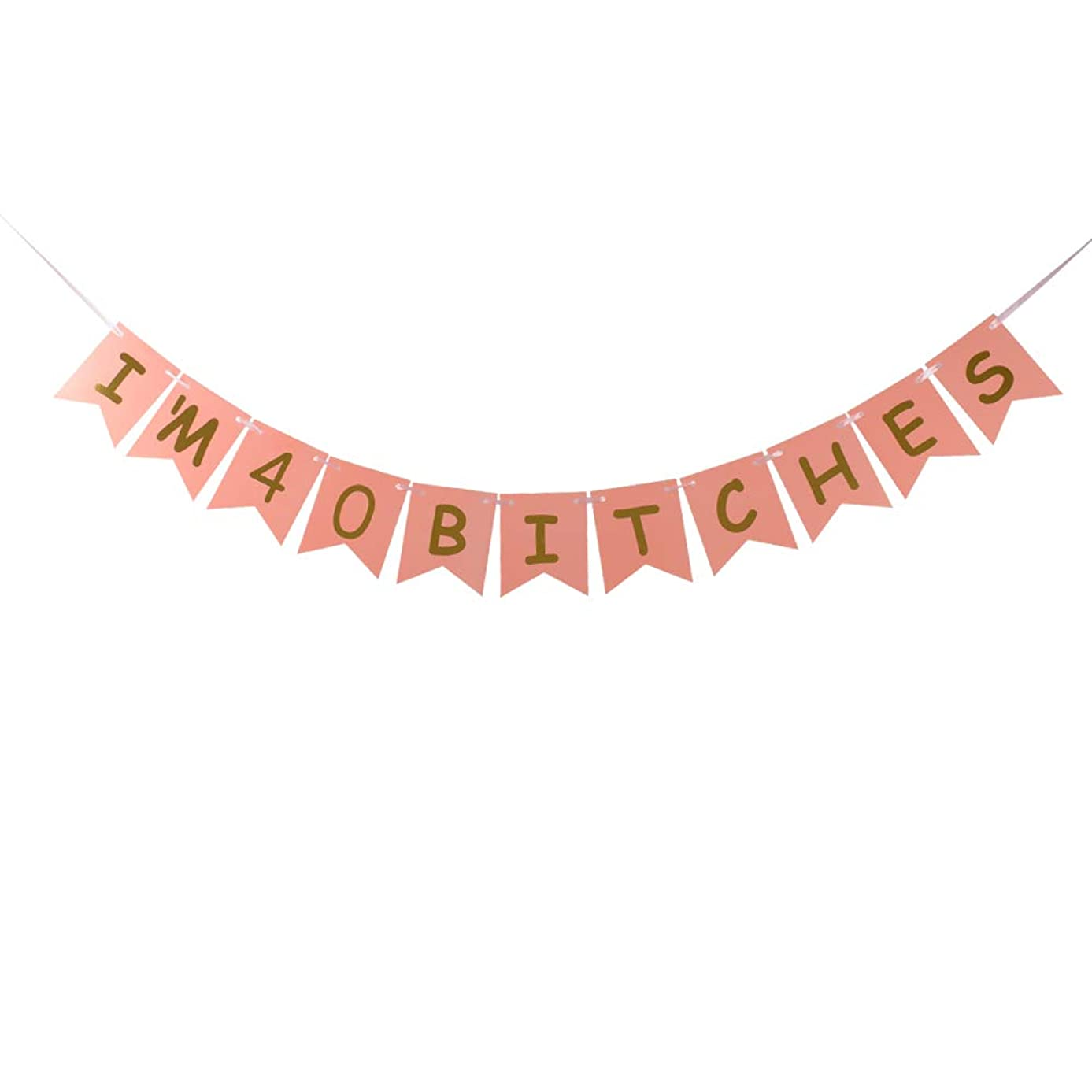 I'm 40 Bitches Banner Pink Card Gold Glitter Letters Special Offer for 40th Birthday Decorations Pink Card Pertlife