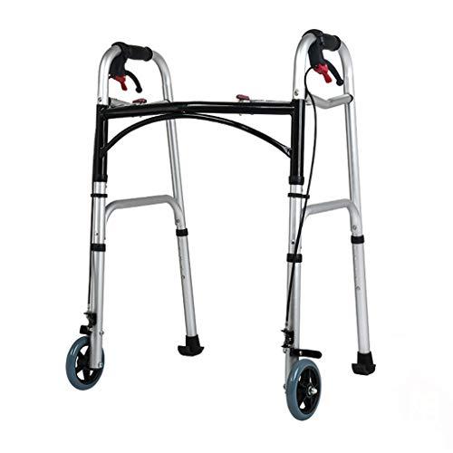 LHNLY-Andadores Estándares Caminador Plegable de liberación de gatillo, Caminadores bariátricos de Servicio Pesado con Ruedas para Adultos Mayores, Compacto de Altura Ajustable liviano