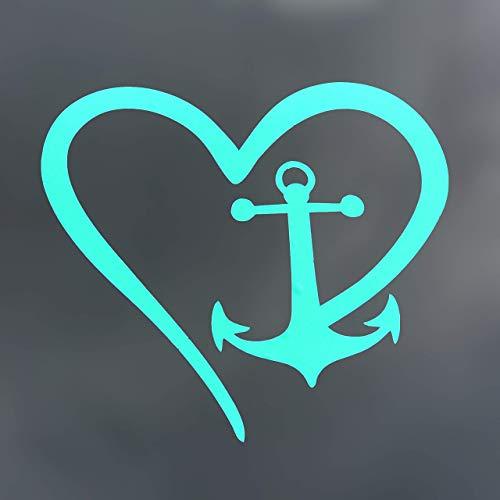Custom Vinyl Heart Boat Anchor Decal, Nautical Love Bumper Sticker, for Tumblers, Laptops, Car Windows