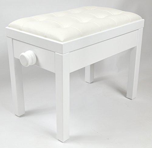 KX Music Klavier-Sitzbank in weiß (matt), Klaviersitz mit Sitzbezug aus weißem Echtleder 56 x 35 cm, höhenverstellbare Pianobank 47-56 cm, stabiler Klavierstuhl, Modell: S-plus 04.12.23