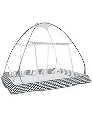 蚊帳(かや) テント式 ワンタッチ 2ドアタイプ 底生地付き 夜光ファスナー 密度が高い 持ち運べる 収納便利 収納袋付 野外キャンプ 旅行 アウトドア