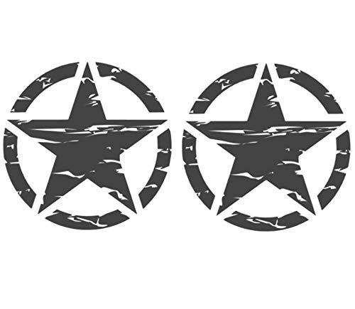 generisch USA Set 2X Star Stern Aufkleber Retro Autoaufkleber in 15x15cm, 20x20cm oder 30x30cm je Stern (91/23/1) (schwarz matt, 30x30cm,)