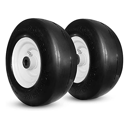 """2Pk HORSESHOE 11x4.00-5 Lawn Mower Tires Flat Free Smooth Zero Turn Lawn Mower Tires w/Steel Rim for Garden Tractor - Centered Hub 3""""-5"""" with 1/2"""" Bushing"""
