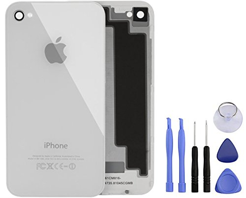 iPhone Back Cover 4S Bianco: copribatteria * Nuovo *, iPhone 4S Bianco Kit di riparazione, riparazione iPhone ricambio riparazione posteriore, cellulare Back Cover, coperchio in vetro per iPhone, in alluminio, specchio Back Cover cambio