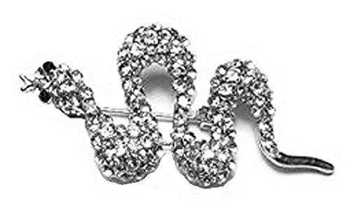Donna finitura argento serpente con cristalli vestito spilla bigiotteria