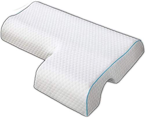 Memory Foam Arched Cuddle Pillow Couples Pillow, Arched Cuddle Pillow with Slow Rebound Memory Foam Sleeping Pillow for Arm Rest, Anti Pressure Hand Pillow (Left, Water Cube)