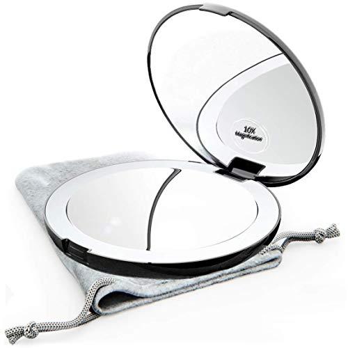 Mavoro LED Beleuchteter Reise-Make-Up-Spiegel, 1x/10-Fache Vergrößerung - Tageslicht-LED, Taschen- oder Portemonnaiespiegel, Kleiner Reisespiegel. Tragbarer Faltspiegel, Groß - 5 Zoll