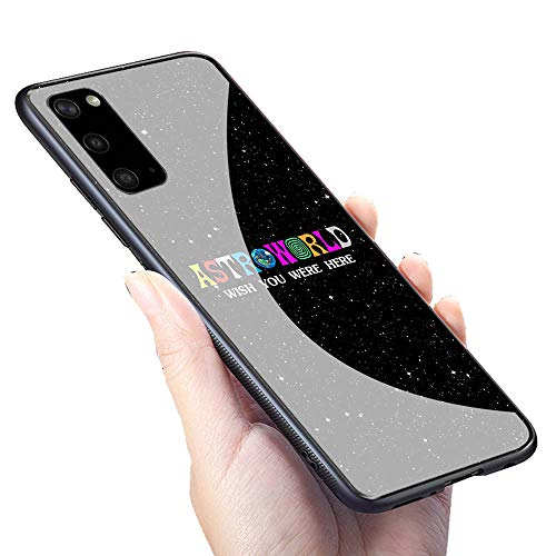 GUOZHAO Galaxy S20 Cover Case,GZA-69 Travis Scott Astroworld Tempered Glass Case and Soft Silicone Rubber Bumper Frame for Scratch-Resistant and Anti-Scratch Absorption