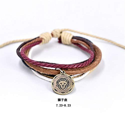 NineJewelry Zodiac Bracelets Genuine Leather Bracelets for Men Women- Adjustable Multilayer Mens Bracelets 12 Constellation Bracelet Leo Wristband,Gifts for Men