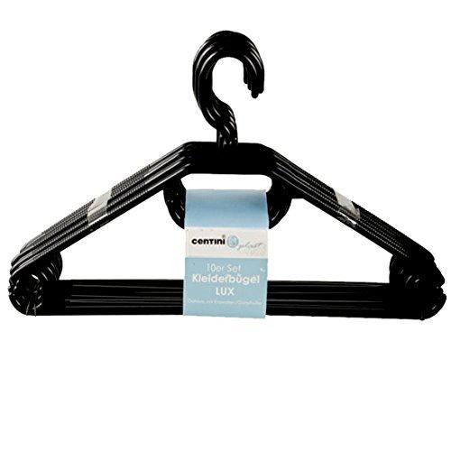 10 Stück Centi Kleiderbügel stabile Kunststoff Bügel in Schwarz von Dies&Das mit Anti-Rutsch-Rillen 360 Grad und Krawattenhalter Hosensteg