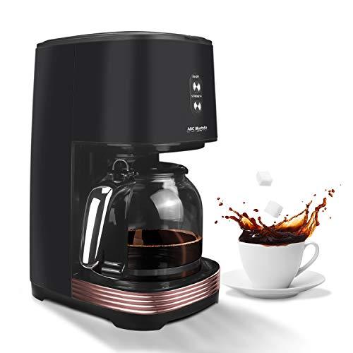 Retro Filterkaffeemaschine mit Permanentfilter, Bis zu 12 Tassen, Retro-Design-Kaffeemaschine mit 1,5-Liter-Glaskanne, Warmhalteplatte | Abschaltautomatik | tropft nicht (schwarz)