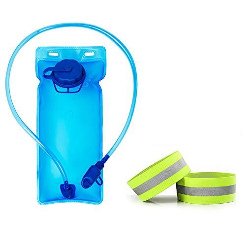 HQCM Trinkblasen, Outdoor Sport Wassersack mit 2 Reflektierende Reitstreifen, Fahrradzubehör Outdoor Camping Wassersack Kletterrucksack Wasserbeutel-blau