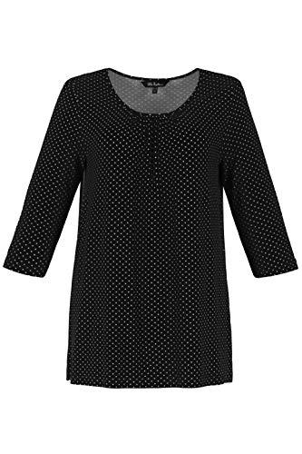 Ulla Popken Damen T-Shirt Pünktchen-Print, A-Line, Große Größen, (Schwarz 10), (Herstellergröße: 50+)