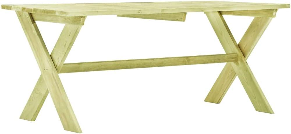 Wakects Mesa de jardín, mesa de comedor rectangular, mesa de exterior de madera de pino impregnada, ideal para balcón, terraza, 170 x 73 x 70 cm (largo x ancho x alto)