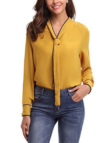 Abollria Blusa Elegante para Mujer Camisa con Arco Oficina Shirt Cuello V Ligera Básica Gasa Top Manga Larga para Primavera, Otoño e Invierno
