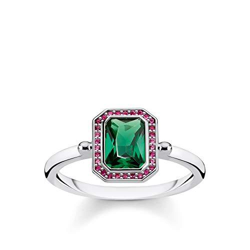 Thomas Sabo Damen-Ring Steine Rot und Grün silber 925 Sterlingsilber TR2264-348-7-56