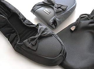 サテンリボン 携帯スリッパ (ブラック, LL (24~25cm)) フォーマル 受験 参観日 旅行 コンパクトに収納できる巾着袋付き 平日14時まで即日出荷
