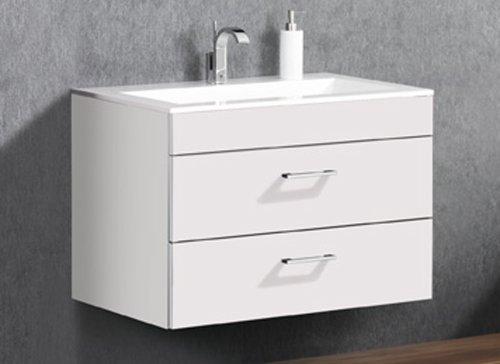 Lanzet P5-1 wastafelonderkast met twee laden en verchroomde handgrepen, wit, B88/H60/T52,5 cm