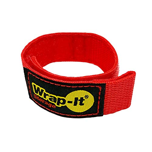 Wrap-It Storage Quick-Strap Cord Wraps, 9 inch (12 Pack) Red - Hook and Loop Strap, Extension Cord Holder for Boat Rope, Hose, and Cable Storage and Organization