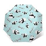 Paraguas Plegable Automático Impermeable Dibujos Animados de Oso Panda de Hoja, Paraguas De Viaje Compacto a Prueba De Viento, Folding Umbrella, Dosel Reforzado, Mango Ergonómico
