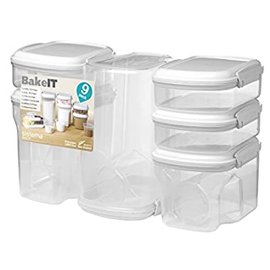 Sistema 1213 Bake It Food Storage for Baking Ingredients, Multi Piece Containers, Clear, Set of 9