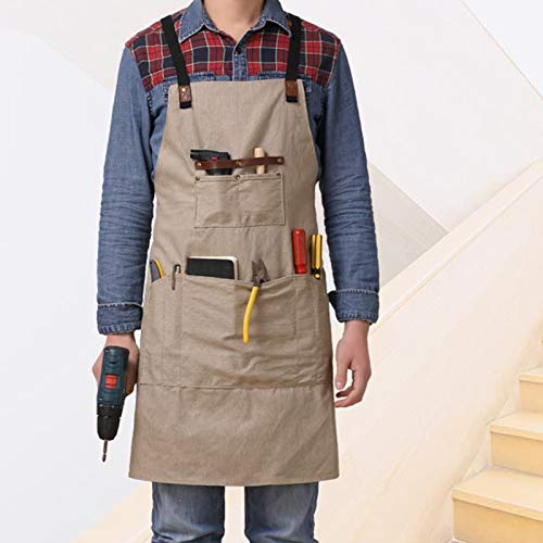 Delantal de lona para hombre, resistente al agua, con 8 bolsillos para herramientas, refuerzo de cuero resistente, correas ajustables, traje ventilado debajo de (Khaki)