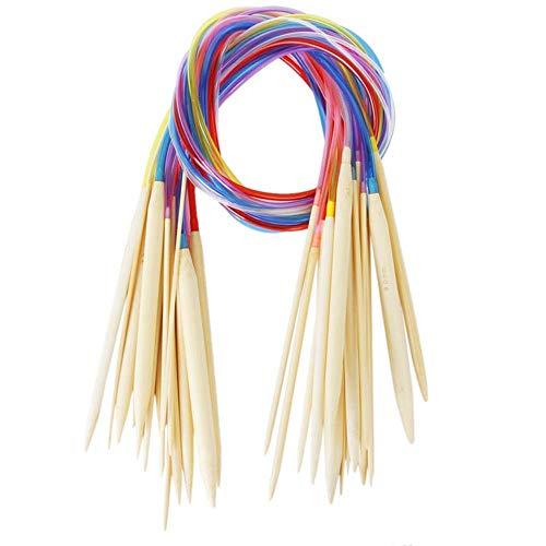 U/K 1 juego de 18 agujas circulares de bambú carbonizadas, multicolores, para tejer