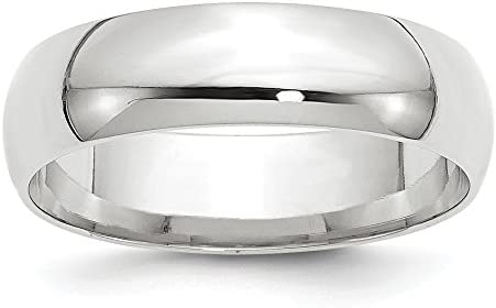 10k White Gold 6mm Comfort Fit Men s Plain Classic Wedding Band Ring Size 11 product image