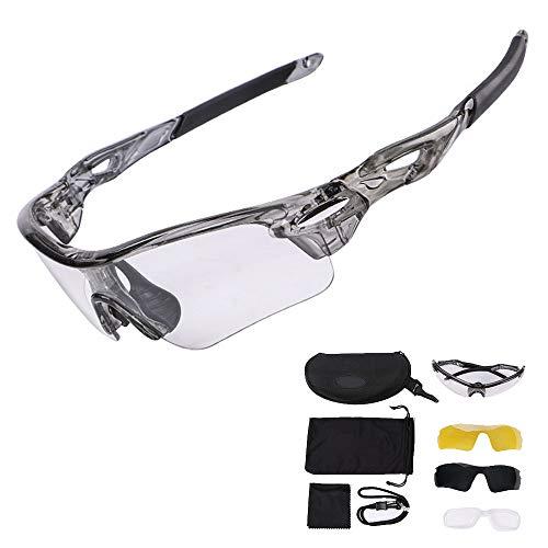 WAINEO Gafas De Sol Deportivas Polarizadas - Gafas De Sol Fotocromáticas De Seguridad para Deportes Al Aire Libre Ciclismo Conducción MTB Protección Antideslumbrante Un tamaño/Gris